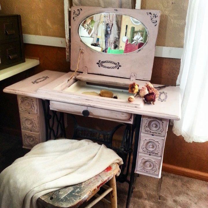 repurposed sewing machine table to vanity, painted furniture, repurposing upcycling