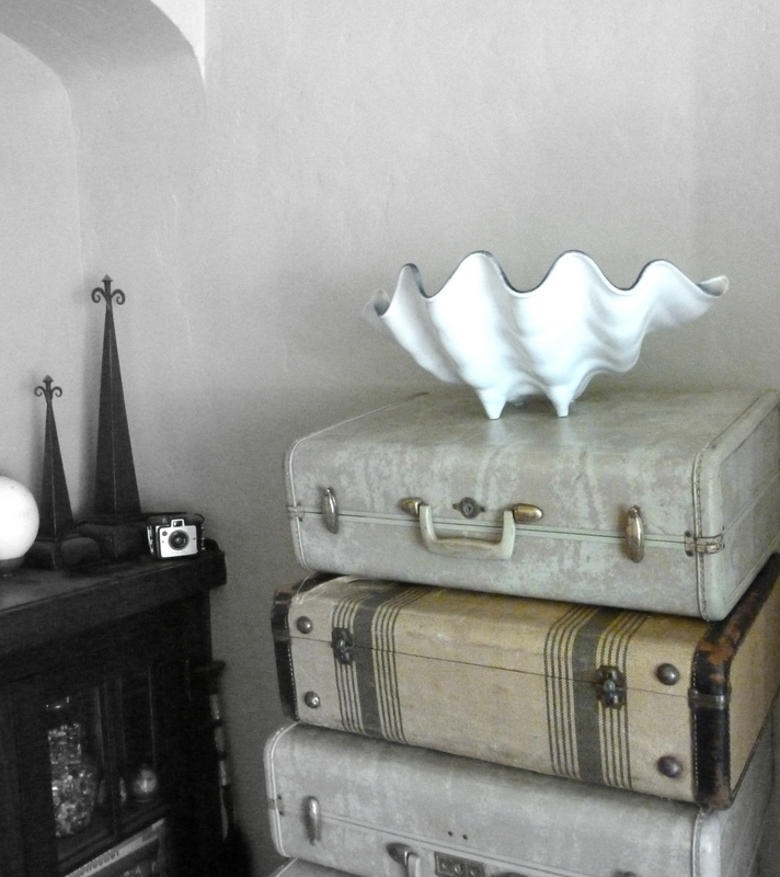 make your own faux white porcelain giant clam bowl, crafts, repurposing upcycling