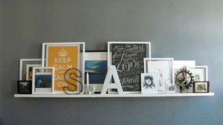 q rustic decor for floating shelves, home decor, shelving ideas, wall decor, I would also layer some frames and create a cluttered collage of family pics
