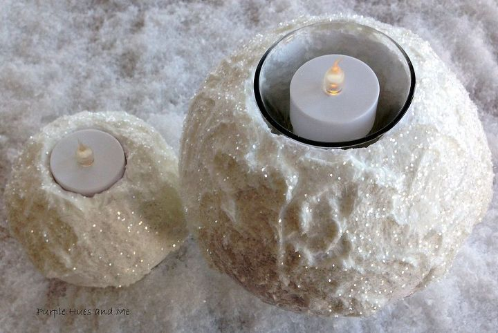 winter snowy flameless tealight candle holder, crafts, how to, seasonal holiday decor