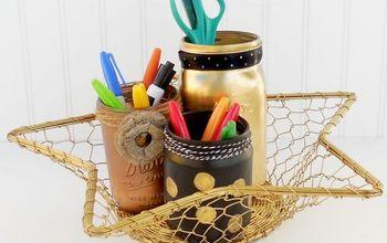 diy desk organizer from recycled mason jars, crafts, mason jars, organizing, repurposing upcycling