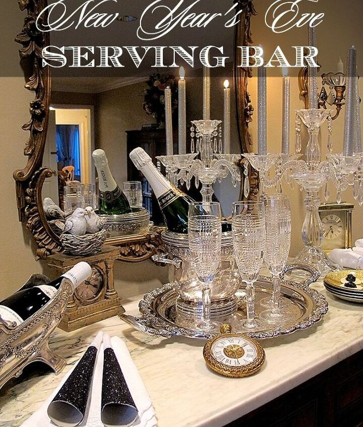 new year s eve serving bar, home decor, living room ideas, seasonal holiday decor, urban living
