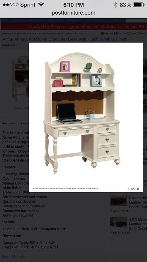 refurbished child s desk to child s desk with hutch, painted furniture, Picture from a website to
