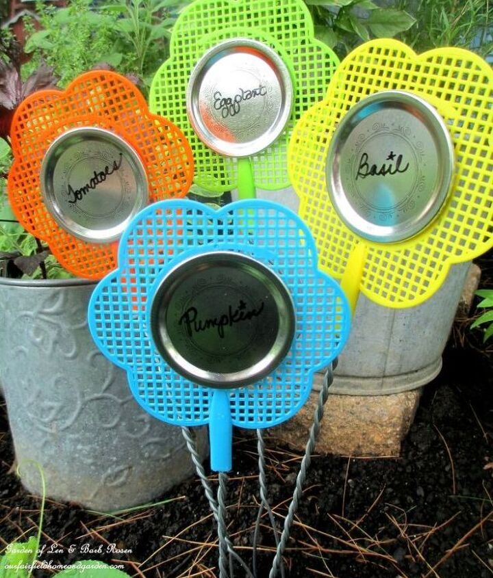 Flyswatters and canning lids = Plant Labels