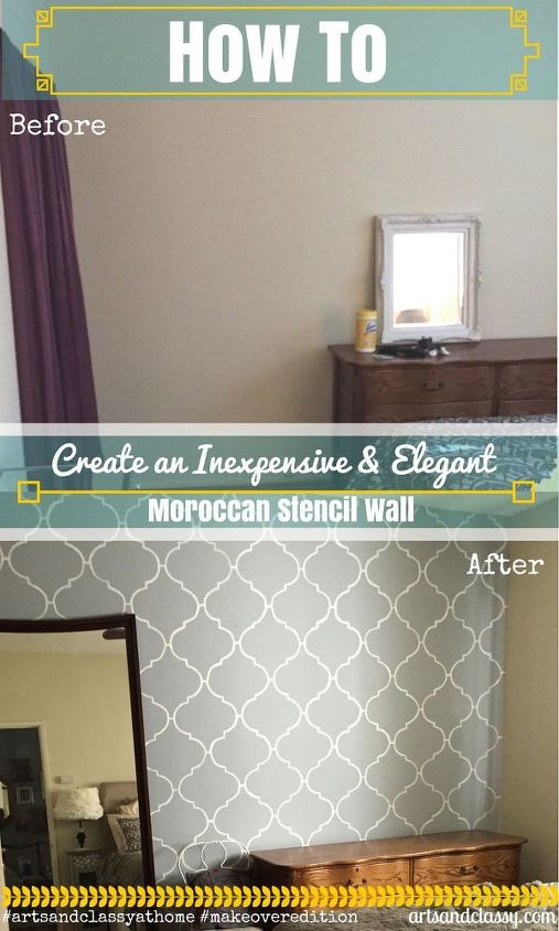 how to paint a moroccan stencil accent wall, diy, home decor, how to, painting, wall decor