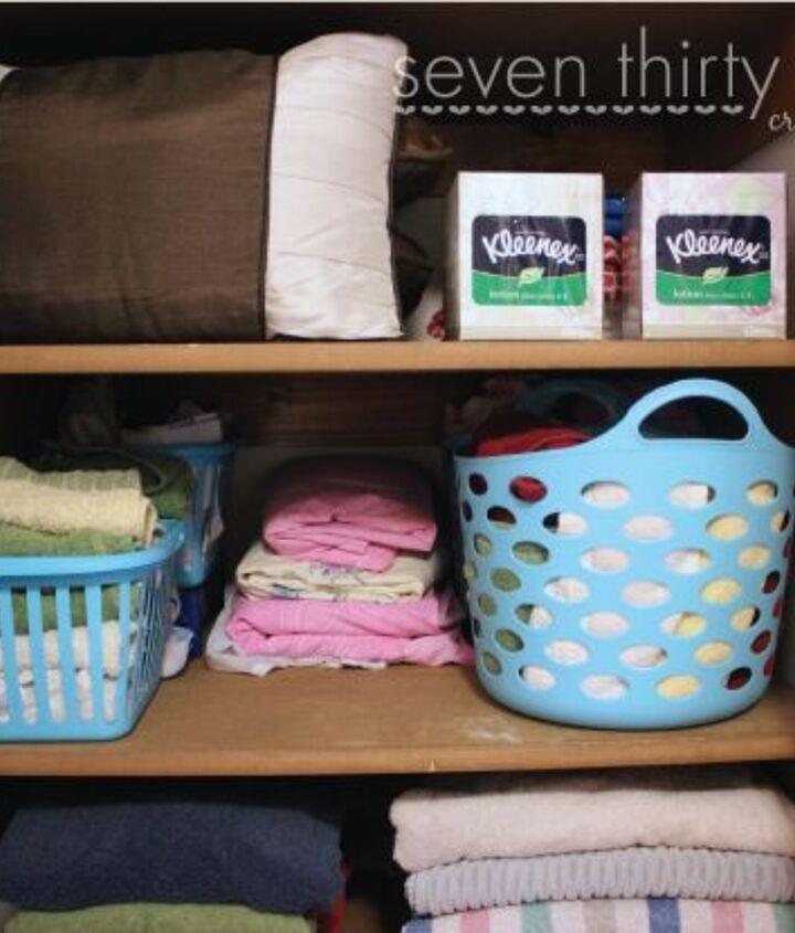 cheap linen closet organization, closet, organizing, storage ideas
