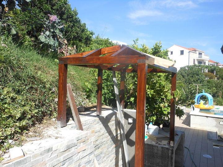 small croatian pergola, concrete masonry, outdoor furniture, outdoor living, tiling