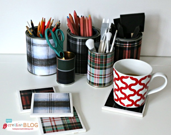 tartan plaid organizing your desk in style, craft rooms, crafts, home office, organizing