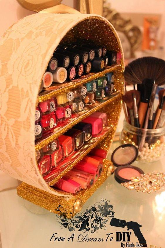glittered makeup organizer, crafts, organizing, storage ideas