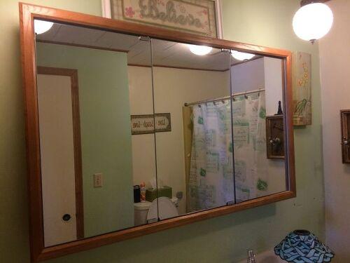 Repurposed Bathroom Ideas: Repurposing Ideas For Medicine Cabinet And Light Fixture