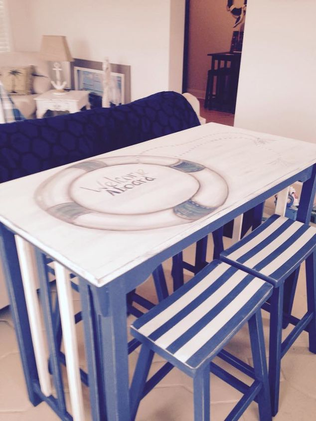 nautical kitchen table makeover, chalk paint, home decor, kitchen design, painted furniture, repurposing upcycling