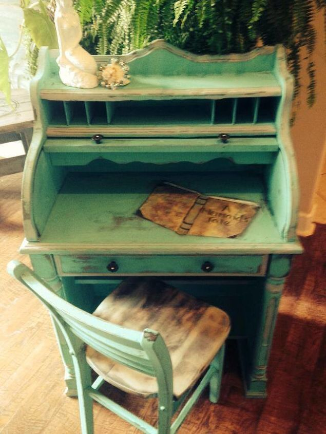 a mermaids tale vintage childs desk, chalk paint, painted furniture,  repurposing upcycling - A Mermaids Tale Vintage Childs Desk Hometalk