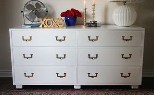 henredon white lacquered campaign dresser makeover, painted furniture
