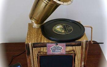 diy faux gramophone, crafts, diy, how to, repurposing upcycling
