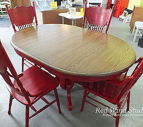 Repainted Dining Room Set In Bold Red, Painted Furniture
