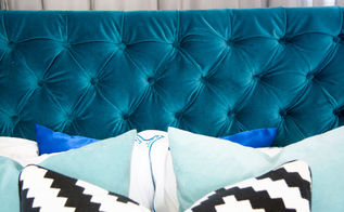 Diy Diamond Tufted Pea Blue Velvet Headboard