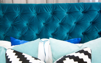 How We DIYed Our Velvet Diamond-Tufted Headboard