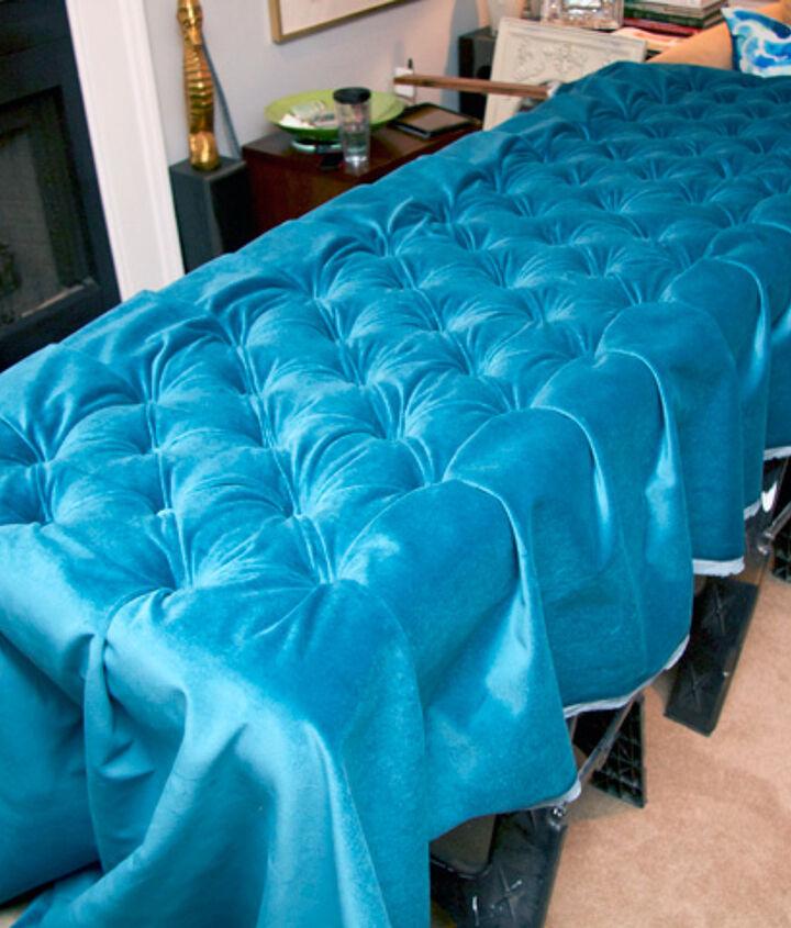 diy diamond tufted peacock blue velvet headboard