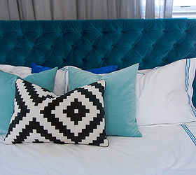 Diy Diamond Tufted Peacock Blue Velvet Headboard