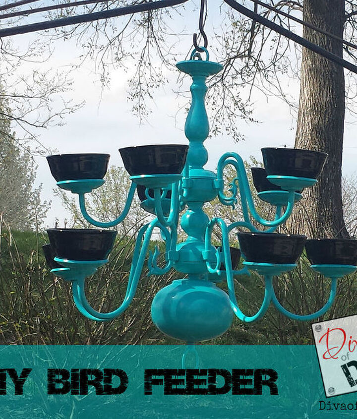 upcycled project chandelier bird feeder, crafts, outdoor living, pets animals, repurposing upcycling