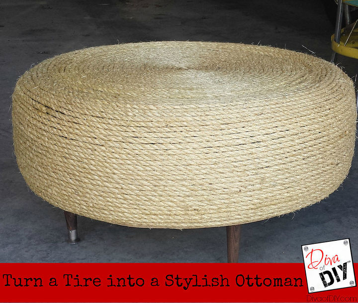 upcycle project turn a old tire into a stylish ottoman, painted furniture