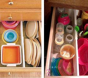 Plastic Ware Cabinet Organization, Kitchen Design, Organizing, Storage Ideas