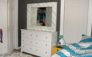 old mirror gets fun striped update, home decor, painted furniture