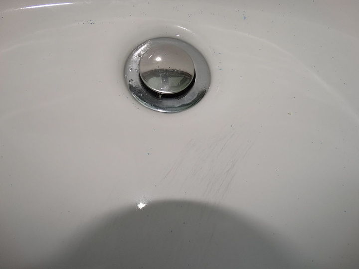 q how to get rid of black scratch marks on white sink, bathroom ideas, cleaning tips, painting