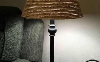 sisal rope lamp shade makeover, crafts, lighting, repurposing upcycling