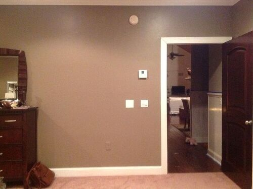 In need of some direction on what to place by bedroom door  Possible bench  for putting on shoes or placing briefcase  A nice plant  Mirrors on wall. Empty space by bedroom door   Hometalk