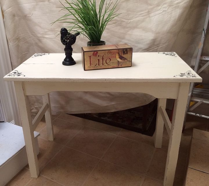 Chalk Painted White Side Table Hometalk
