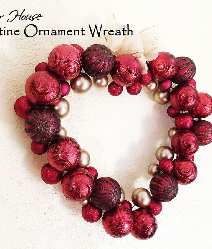 valentine ornament wreath using a clothes hanger, crafts, repurposing upcycling, seasonal holiday decor, valentines day ideas, wreaths