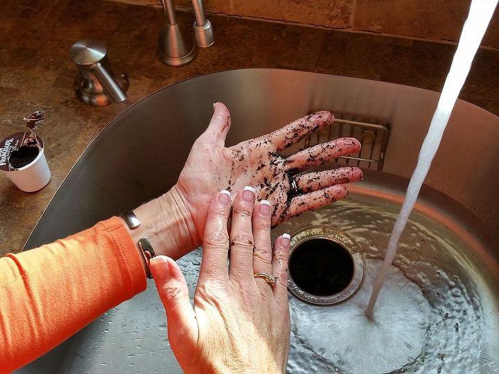 Rub Coffee Grounds Between Your Hands