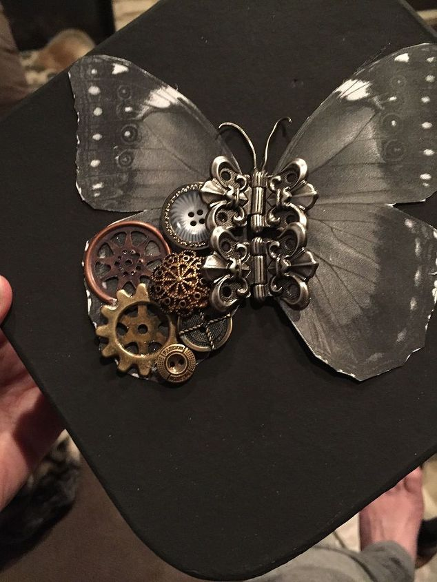 first attempt at a steampunk butterfly, crafts, repurposing upcycling