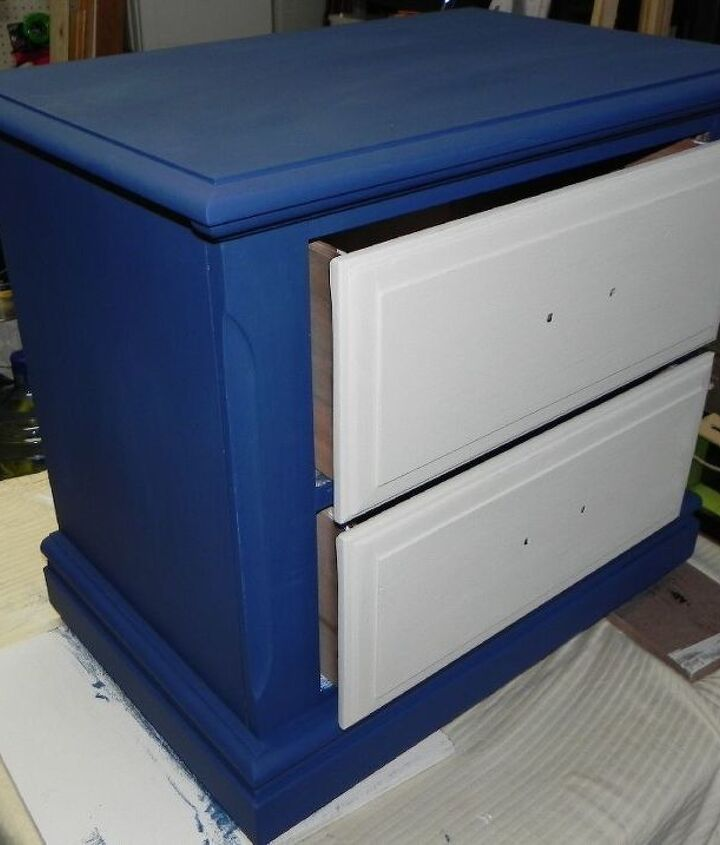 upcycled repainted nightstand, decoupage, painted furniture, repurposing upcycling