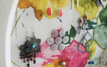 earring organizer, crafts, organizing, repurposing upcycling, reupholster