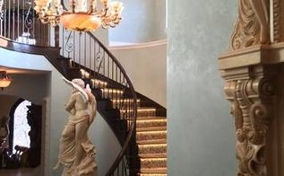 metallic venetian plaster painted foyer, foyer, home decor, lighting, paint colors, painting, After of Foyer