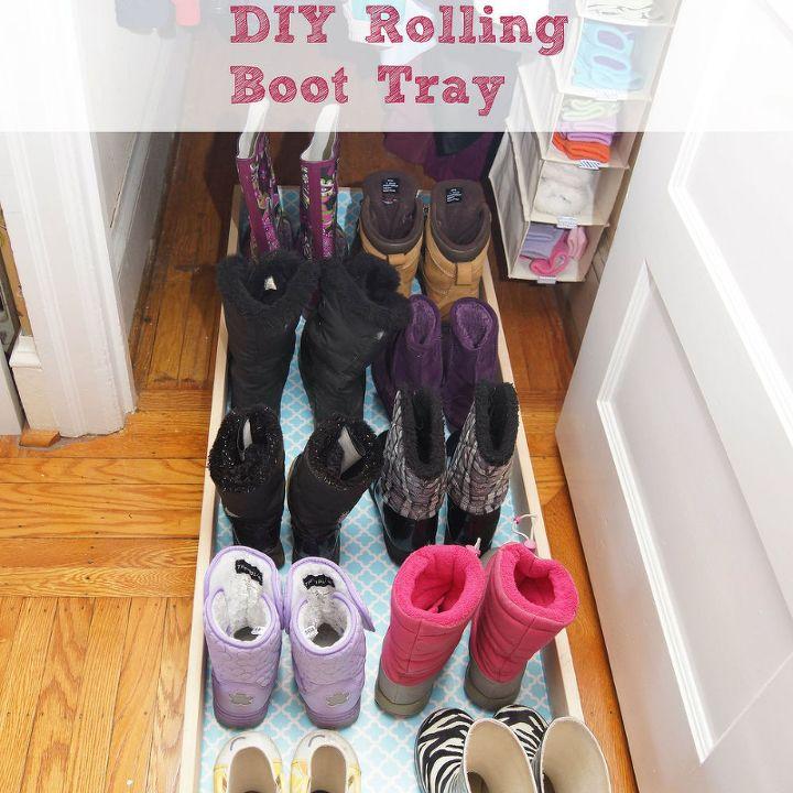 diy rolling boot tray, bedroom ideas, closet, doors, painted furniture