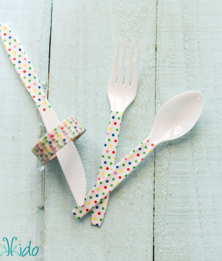 washi tape embellished plastic party silverware, crafts