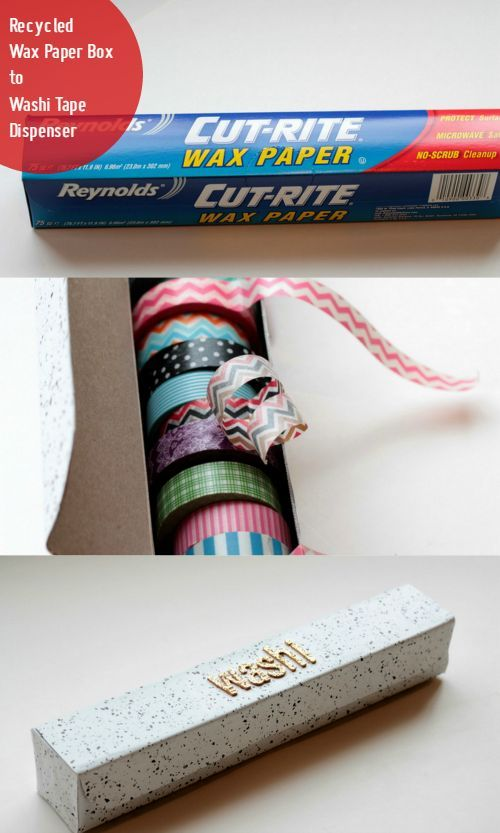 upcycled wax paper box to washi tape dispenser, crafts, how to, organizing, repurposing upcycling