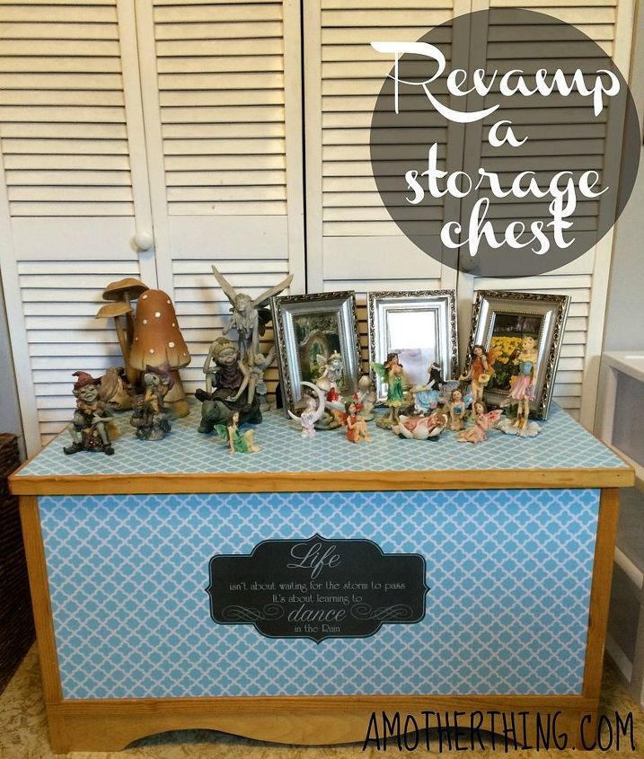 revamp a hope chest with contact paper, painted furniture