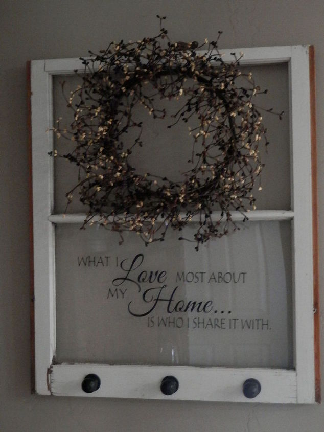Repurposed old window to shelf decoration hometalk for Old window craft ideas