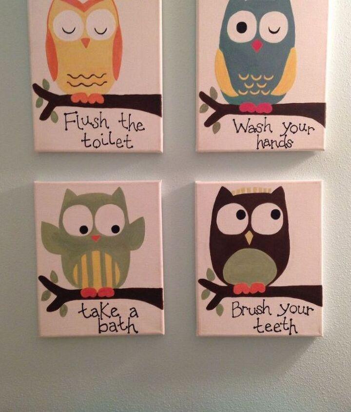 Kids Owl Bathroom Art