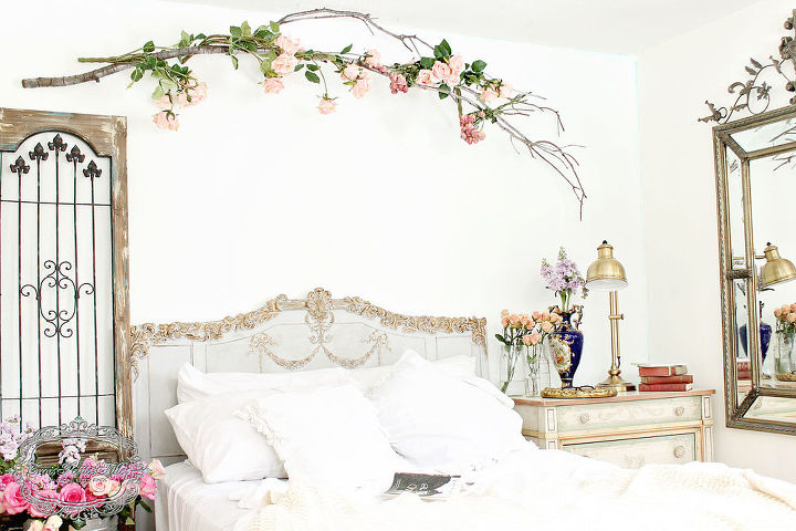 Using A Tree Branch To Create Romantic Bedroom Wall Art