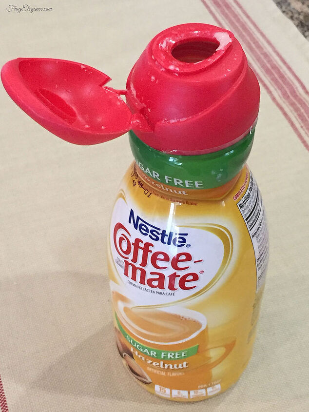 Simple Organizing Repurposed Coffee Creamer Containers