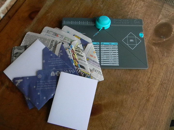 making envelopes from recycled paper, crafts, repurposing upcycling