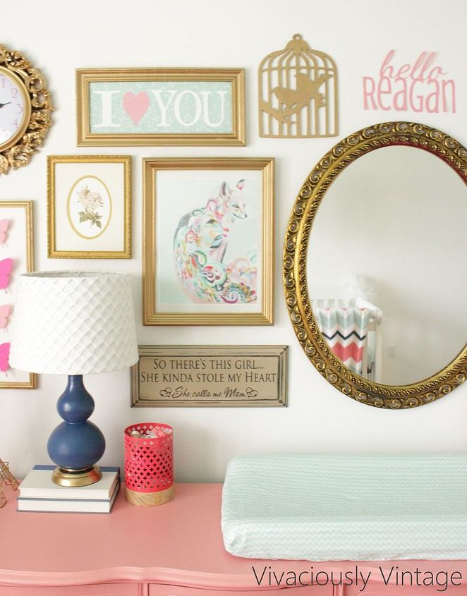 girly thrifted gold frame gallery wall, bedroom ideas, crafts, painted furniture, repurposing upcycling, wall decor