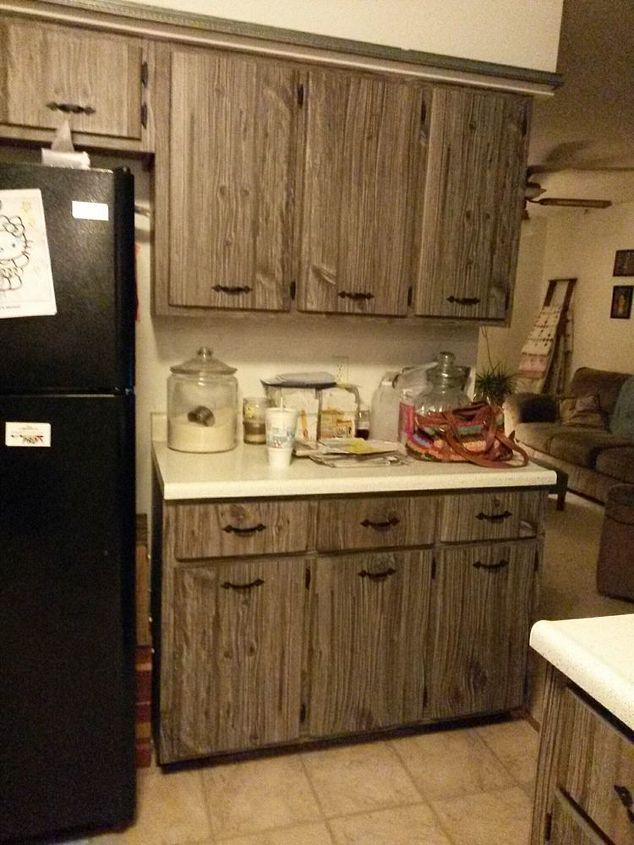Q What Would You Do With These Fake Barn Wood Cabinets Kitchen