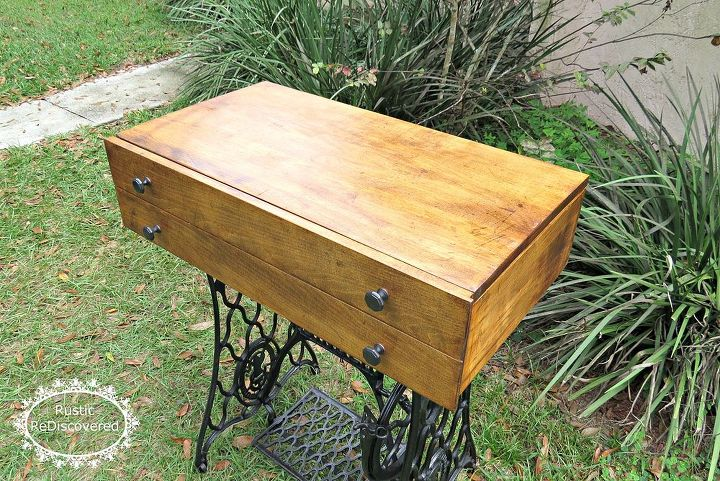 singer sewing machine base storage table, painted furniture, repurposing upcycling, storage ideas