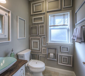 Wall Decor Made From Frames, Bathroom Ideas, Wall Decor, Guest Bath Framed  Wall